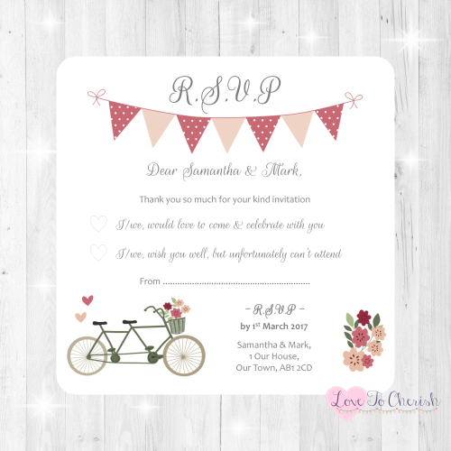 Vintage Tandem Bike/Bicycle Shabby Chic Wedding RSVP Cards
