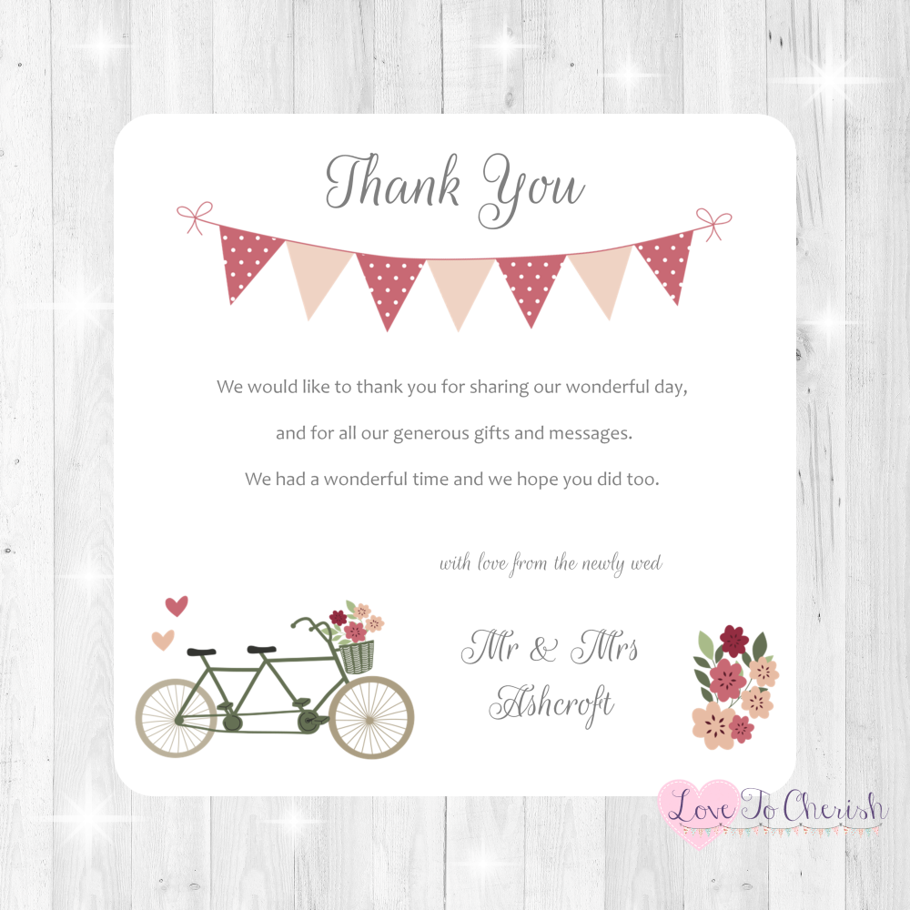Vintage Tandem Bike/Bicycle Shabby Chic Wedding Thank You Cards