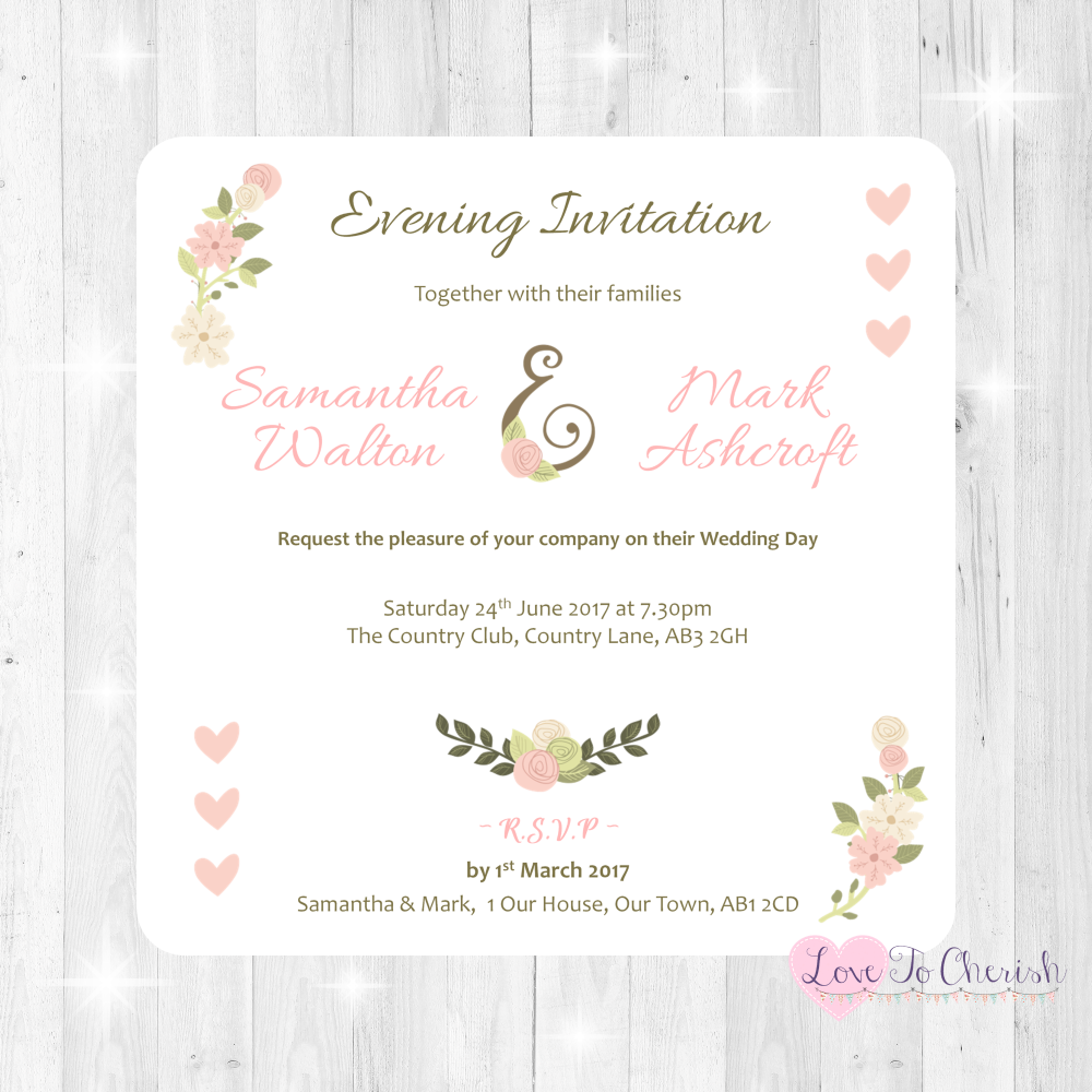 Vintage/Shabby Chic Flowers & Pink Hearts Wedding Evening Invitations