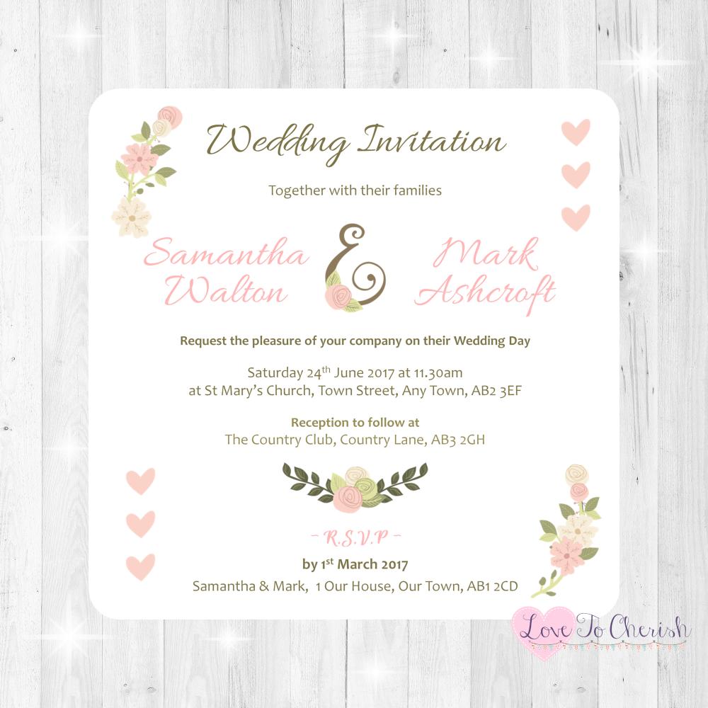Vintage/Shabby Chic Flowers & Pink Hearts Wedding Invitations