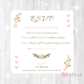 Vintage/Shabby Chic Flowers & Pink Hearts Wedding RSVP Cards