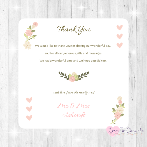 Vintage/Shabby Chic Flowers & Pink Hearts Wedding Thank You Cards