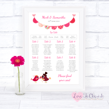 Wedding Table Plan - Bride & Groom Cute Love Birds Dark Pink