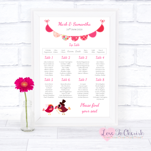 Wedding Table Plan - Bride & Groom Cute Love Birds Dark Pink | Love To Cher