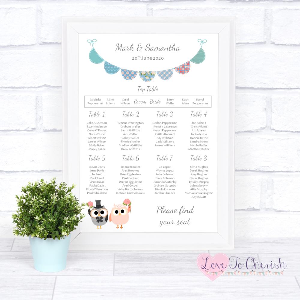 Wedding Table Plan - Bride & Groom Cute Owls & Bunting Green/Blue | Love To