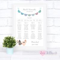 Wedding Table Plan - Bride & Groom Cute Owls & Bunting Green/Blue