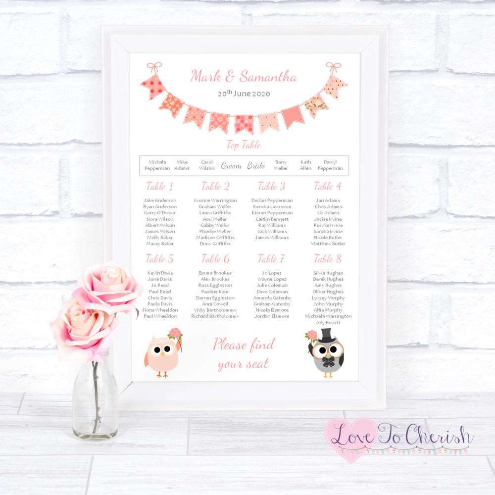 Wedding Table Plan - Bride & Groom Cute Owls & Bunting Peach | Love To Cher