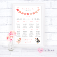 Wedding Table Plan - Bride & Groom Cute Owls & Bunting Peach