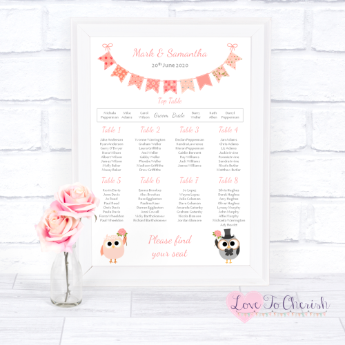 Wedding Table Plan - Bride & Groom Cute Owls & Bunting Peach | Love To Cher