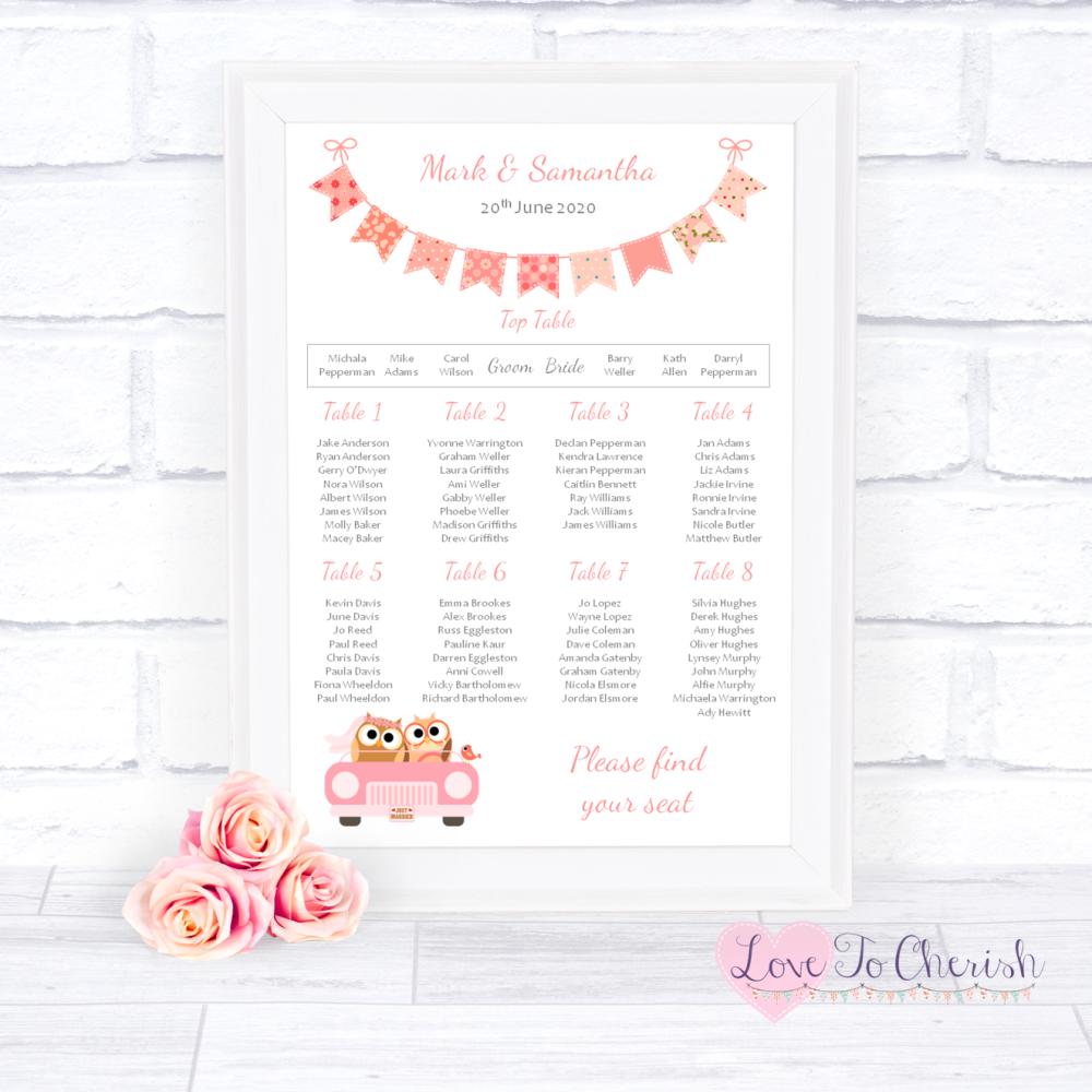Wedding Table Plan - Bride & Groom Cute Owls in Car Peach   Love To Cherish
