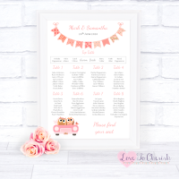 Wedding Table Plan - Bride & Groom Cute Owls in Car Peach
