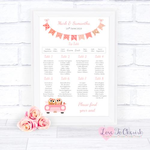 Wedding Table Plan - Bride & Groom Cute Owls in Car Peach | Love To Cherish