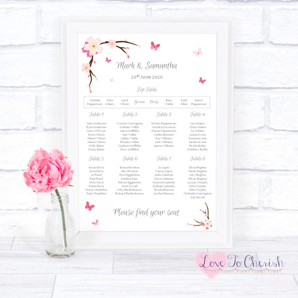 Wedding Table Plan - Cherry Blossom & Butterflies   Love To Cherish