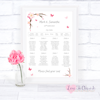 Wedding Table Plan - Cherry Blossom & Butterflies