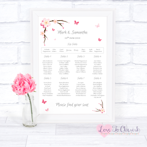 Wedding Table Plan - Cherry Blossom & Butterflies | Love To Cherish
