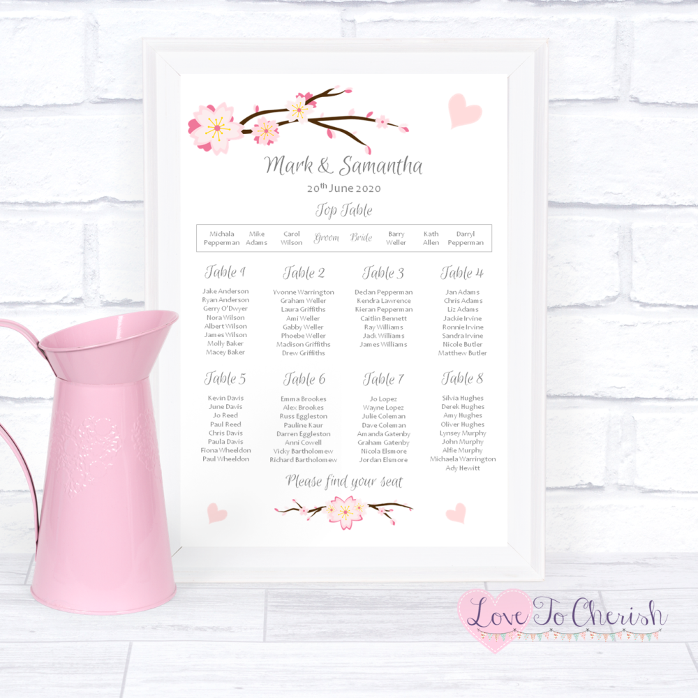 Wedding Table Plan - Cherry Blossom & Pink Hearts   Love To Cherish