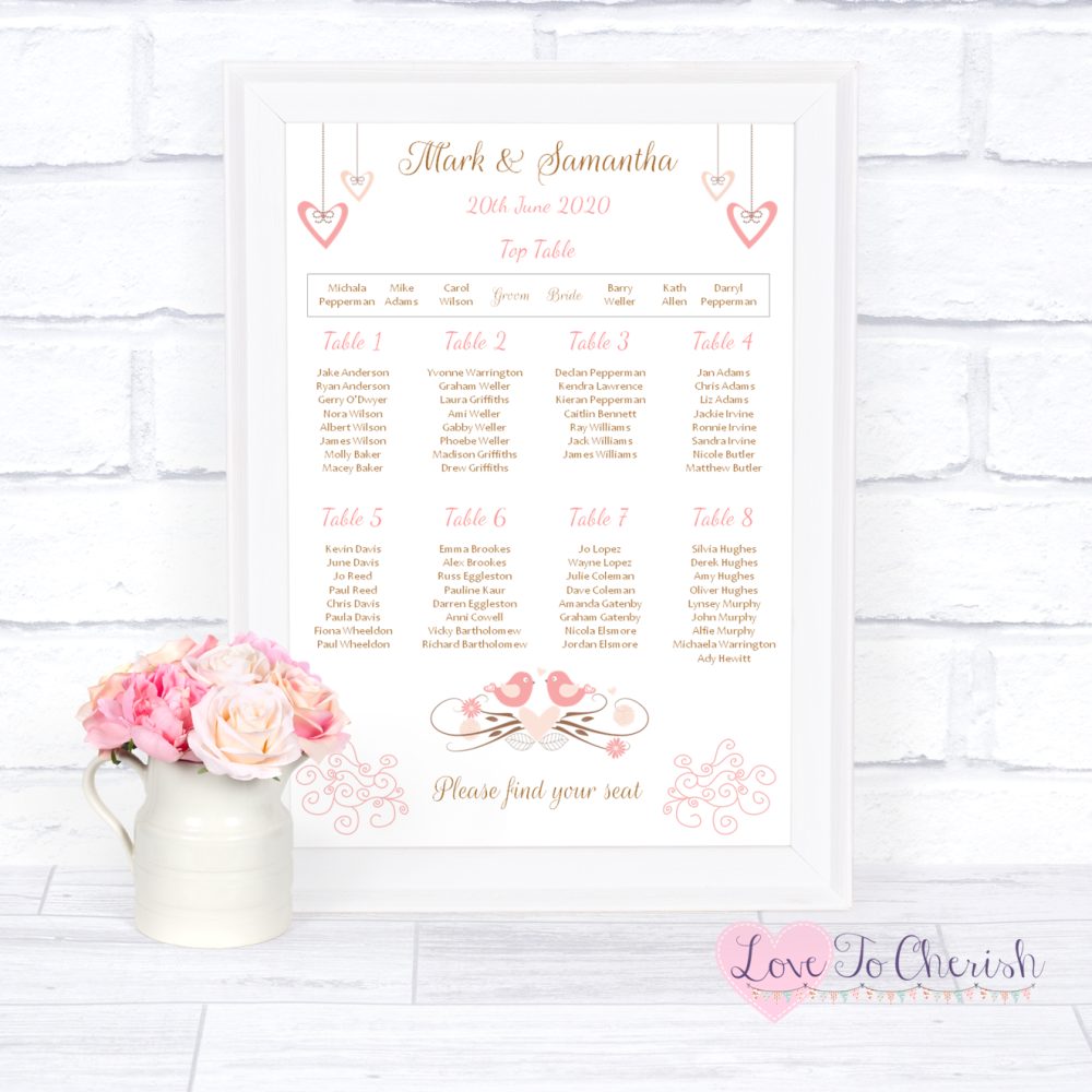 Wedding Table Plan - Shabby Chic Hanging Hearts & Love Birds | Love To Cher