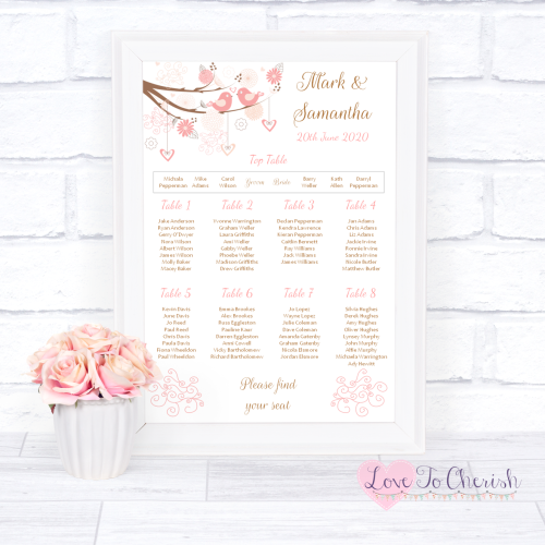 Wedding Table Plan - Shabby Chic Hearts & Love Birds in Tree | Love To Cher