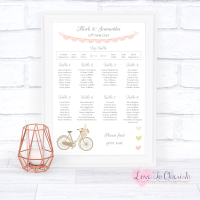 Wedding Table Plan - Vintage Bike/Bicycle Shabby Chic Pink Lace Bunting