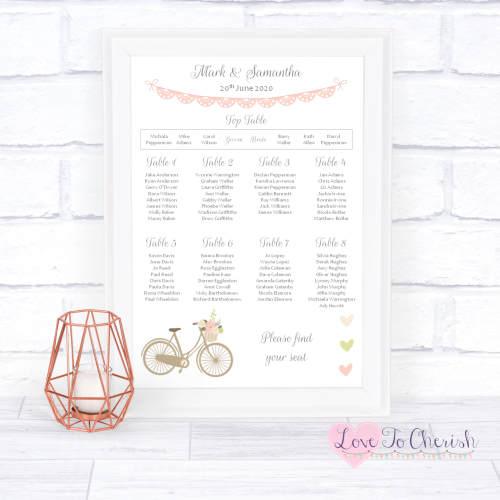 Wedding Table Plan - Vintage Bike/Bicycle Shabby Chic Pink Lace Bunting | L