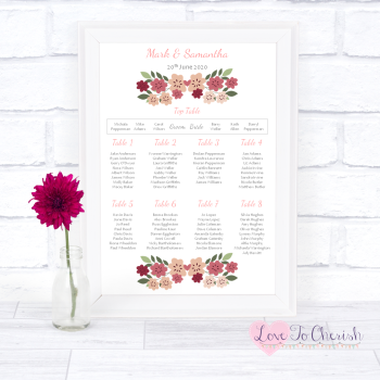 Wedding Table Plan - Vintage Floral/Shabby Chic Flowers