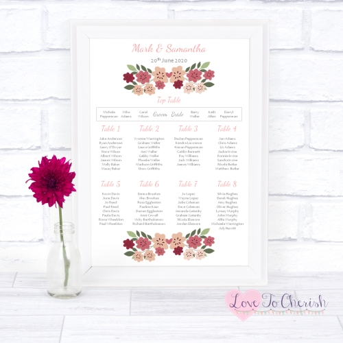 Wedding Table Plan - Vintage Floral/Shabby Chic Flowers | Love To Cherish
