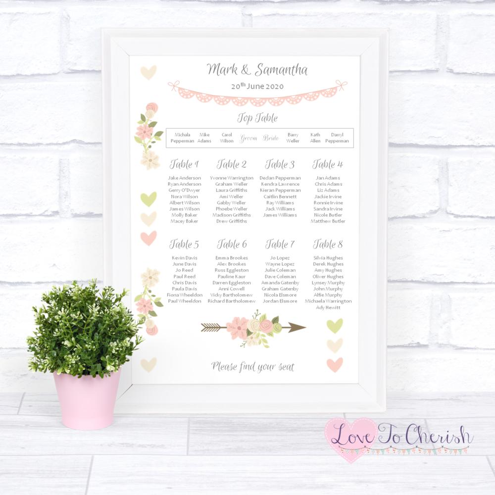 Wedding Table Plan - Vintage Flowers & Hearts   Love To Cherish