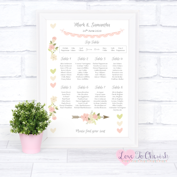 Wedding Table Plan - Vintage Flowers & Hearts