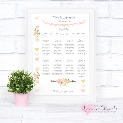 Wedding Table Plan - Vintage Flowers & Hearts | Love To Cherish