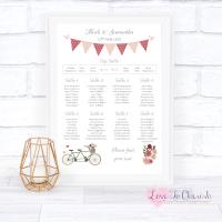 Wedding Table Plan - Vintage Tandem Bike/Bicycle Shabby Chic