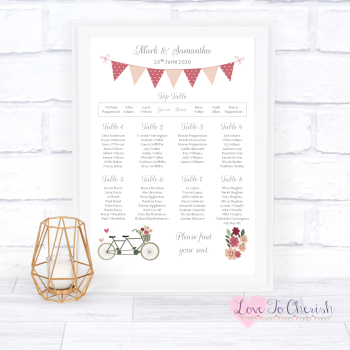 Wedding Table Plan - Vintage Tandem Bike/Bicycle Shabby Chic