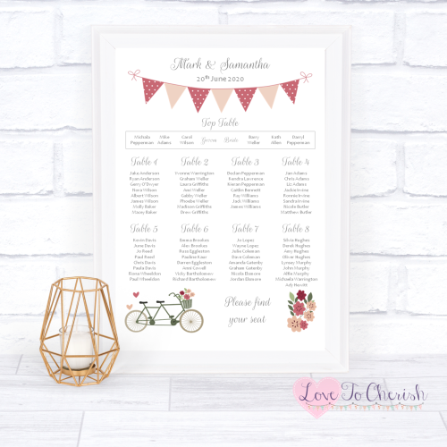 Wedding Table Plan - Vintage Tandem Bike/Bicycle Shabby Chic | Love To Cher