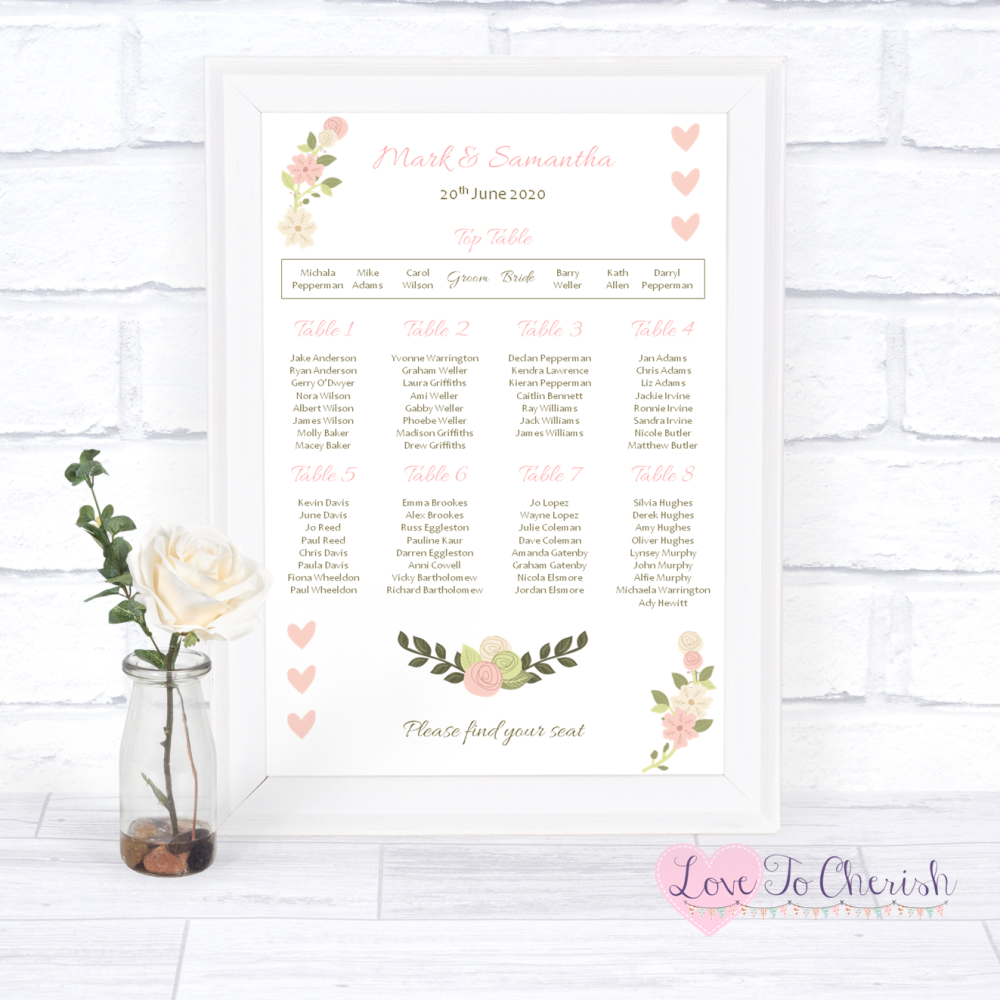 Wedding Table Plan - Vintage/Shabby Chic Flowers & Pink Hearts   Love To Ch