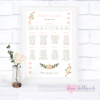 Wedding Table Plan - Vintage/Shabby Chic Flowers & Pink Hearts