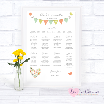 Wedding Table Plan - Shabby Chic Flower Heart & Bunting