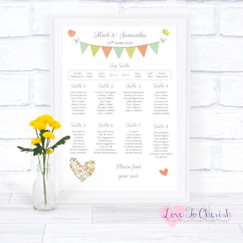 Wedding Table Plan - Shabby Chic Flower Heart & Bunting | Love To Cherish