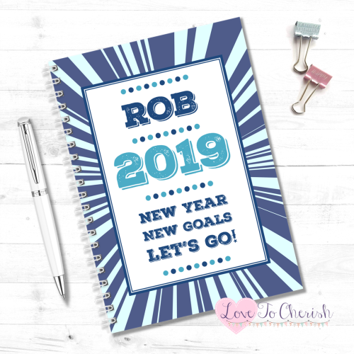 2019 New Year, New Goals, Lets Go! (Blue) - Men's Personalised Food Diary |