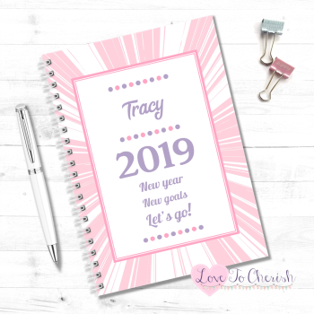2019 New Year, New Goals, Lets Go! (Pink) - Personalised Food Diary
