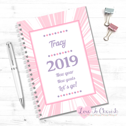 2019 New Year, New Goals, Lets Go! (Pink) - Personalised Food Diary | Love