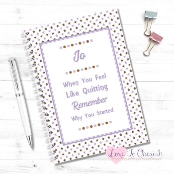 When You Feel Like Quitting Remember Why You Started (Lilac) - Personalised Food Diary