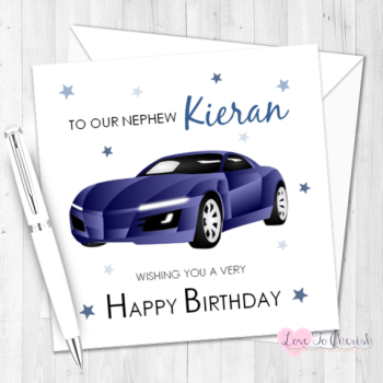 Blue Sports Car Personalised Birthday Card