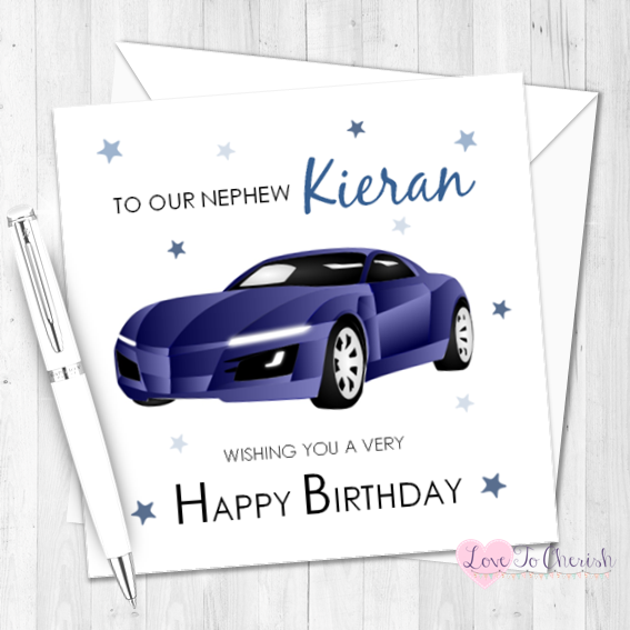 Blue Sports Car Personalised Birthday Card | Love To Cherish