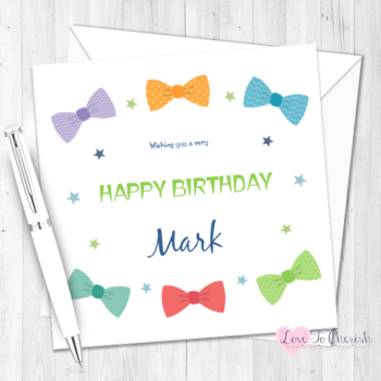 Bow Ties Personalised Birthday Card