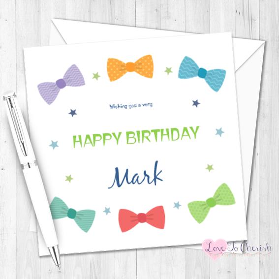 Bow Ties Personalised Birthday Card   Love To Cherish