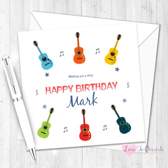 Guitars & Music Personalised Birthday Card   Love To Cherish
