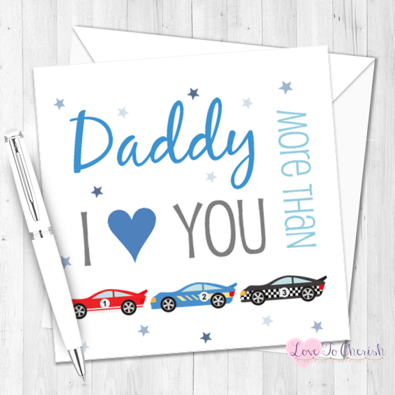 Personalised Birthday Card for Him   I Love You More Than Racing Cars Birth