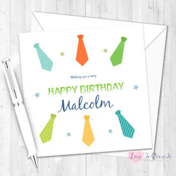 Men's Ties Personalised Birthday Card