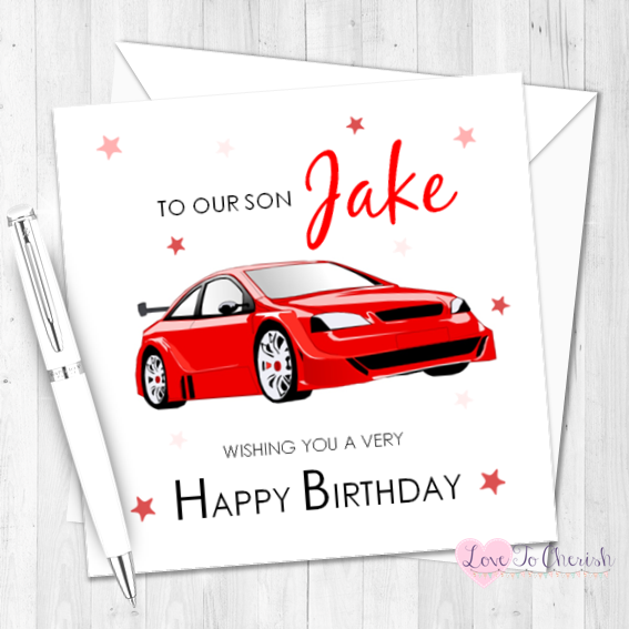 Red Sports Car Personalised Birthday Card   Love To Cherish