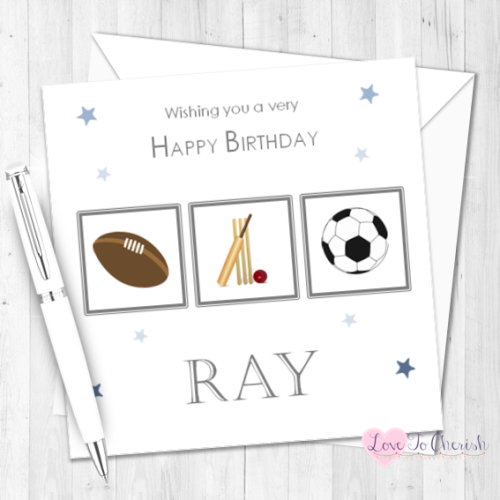 Sports Mad Personalised Birthday Card | Love To Cherish