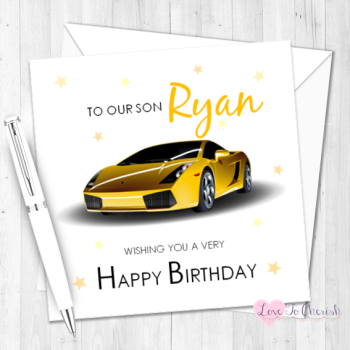 Yellow Sports Car Personalised Birthday Card
